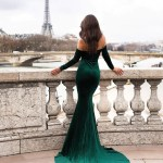 Cadencia Emerald Velvet Gown With Long Off Shoulder Sleeves