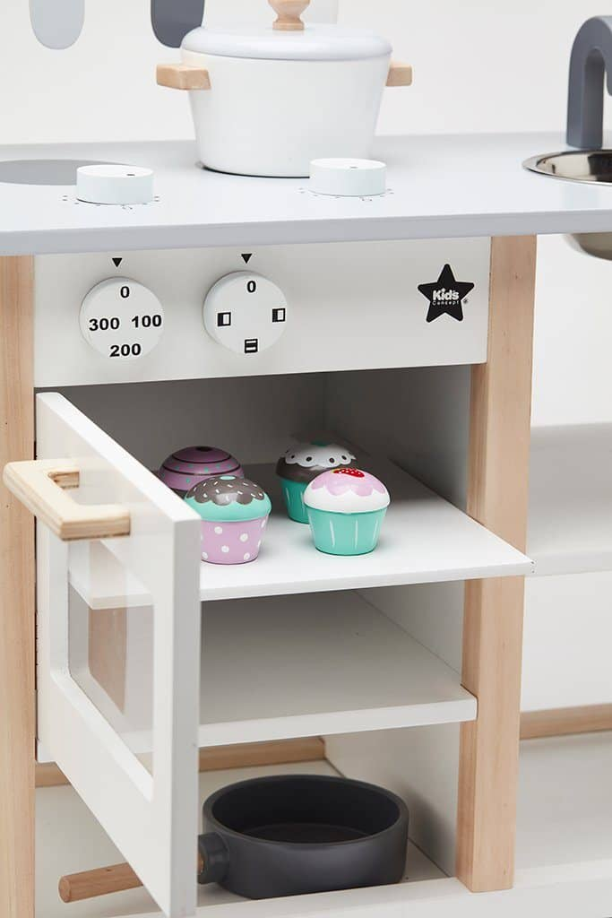 wooden play kitchen movable cabinets toys kids concept all mamas children