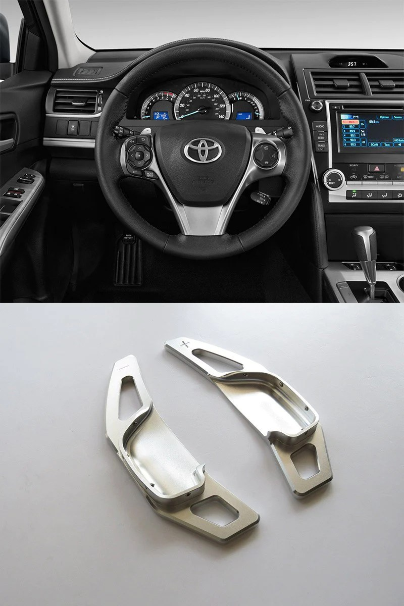 pinalloy silver alloy steering wheel extension paddle shift extension for toyota corolla camry 2010 2015 [ 800 x 1200 Pixel ]
