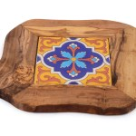 Ceramic And Olive Wood Trivet Tessuti Toscani