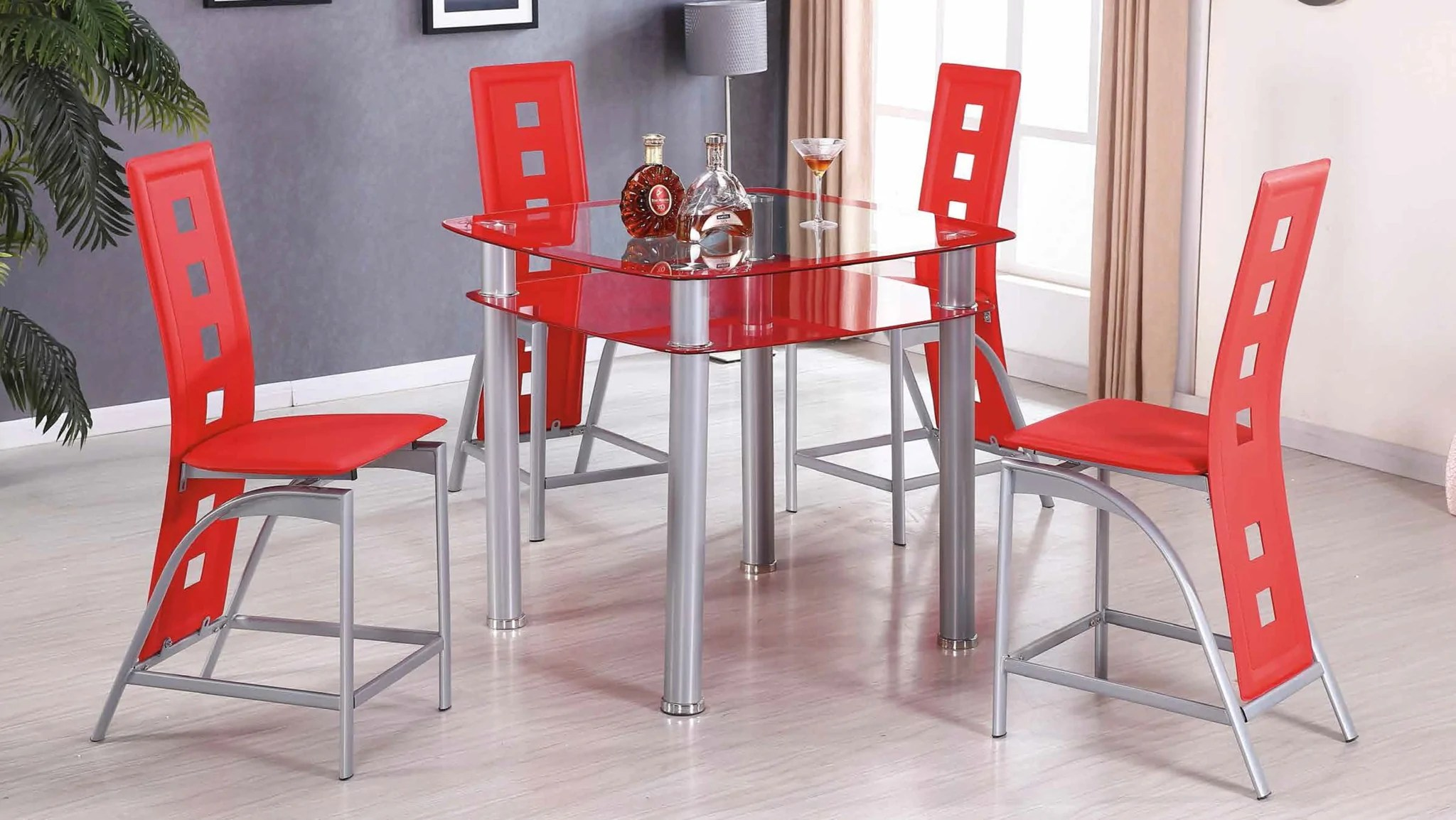 red counter height dining chairs realcomfort adirondack chair modern glass group by furniture world sale 5 piece set