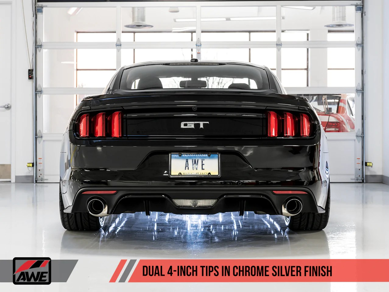 awe touring edition cat back exhaust for s550 mustang gt chrome silver tips
