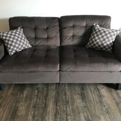 Brown Fabric Sofa Sofasworld Contact Number Chocolate Tufted With Nailhead Total Rooms