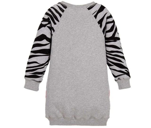 Girls Gray Tiger Sweater Dress