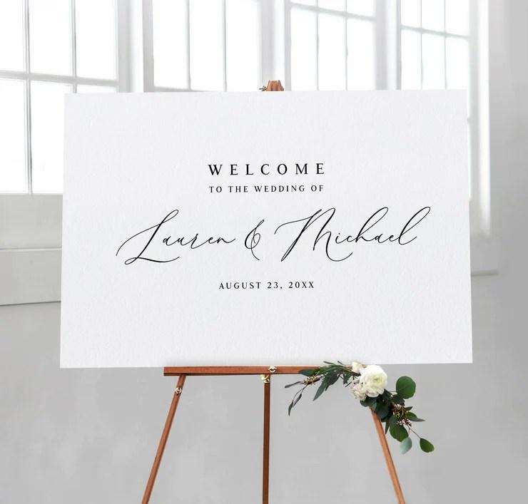 wedding welcome sign poster romantic elegant edit online download 3 sizes