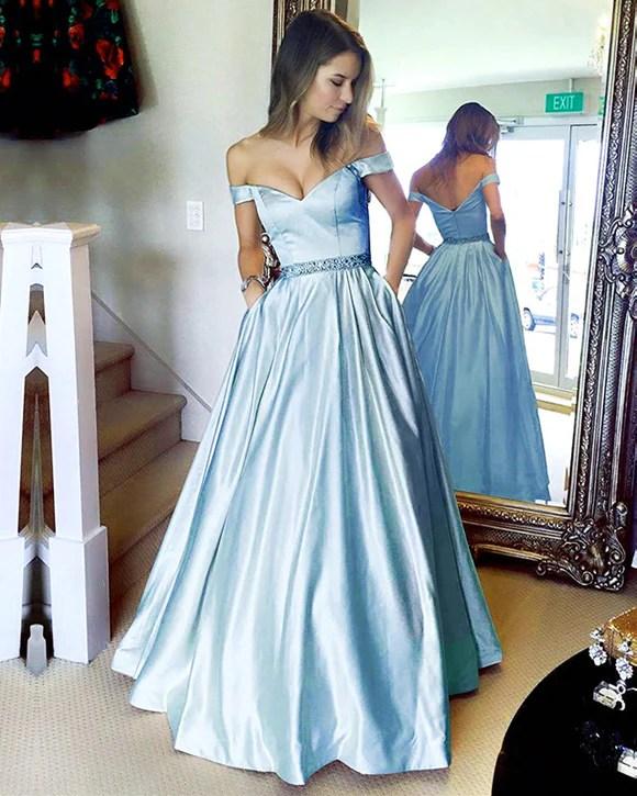 Baby Blue Prom Dresses Long Satin Vneck Off The Shoulder Evening Gown  alinanova