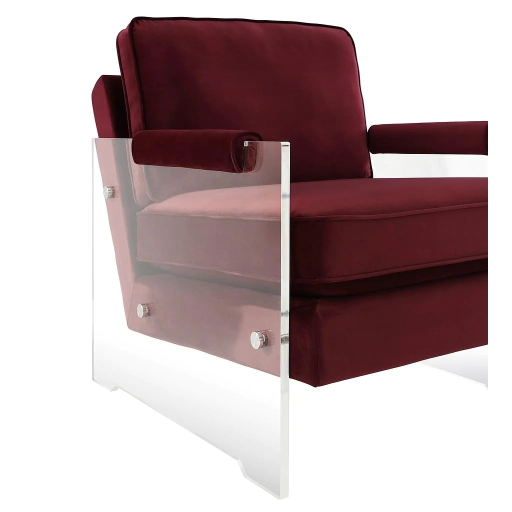 Lucite Chair Serena Burgundy Velvet Lucite Chair