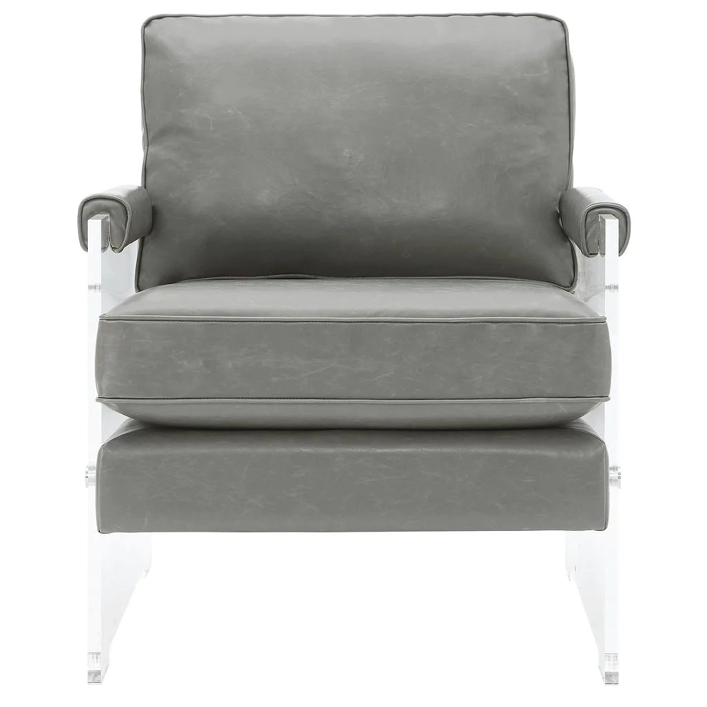 Lucite Chair Serena Grey Eco Leather Lucite Chair