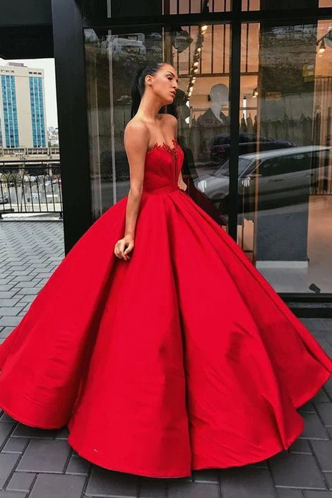Charming Red Sweetheart Strapless Satin Ball Gown Prom Dresses  Okdresses