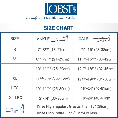 Jobst size chart also compression stockings and socks rh compressionstockingsstore