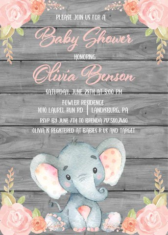 Pink Elephant Baby Shower Free Printables : elephant, shower, printables, Elephant, Shower, Printables, Viewer