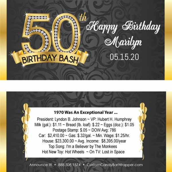 Diamond 50th Birthday Candy Bar Wrapper Announce It