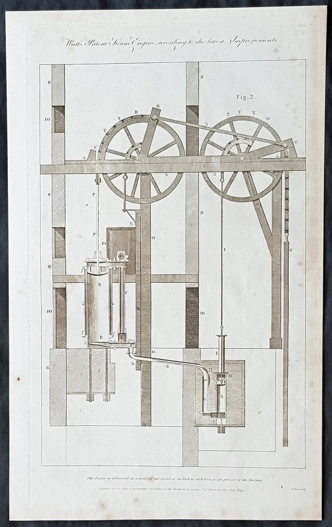 hight resolution of 1795 william hall antique print diagram of the watts steam engine in 1 classical images