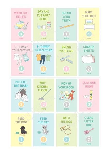 Childrens Printable Chore Cards JellyTelly