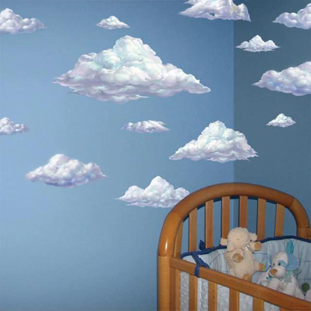 Baby Girl Nursery Removable Wallpaper Sky Clouds Mural Nursery Cloud Mural Mural Of Clouds