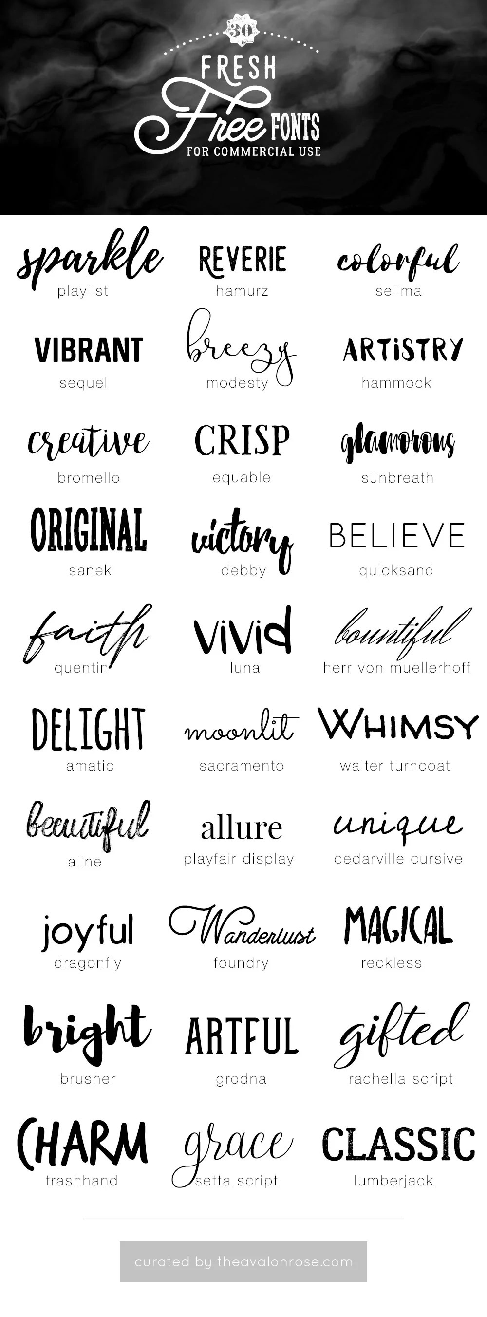 Download Fresh Free Fonts for Commercial Use - Avalon Rose Design