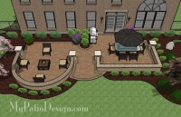 Hot Tub Patio Design with Seat Walls