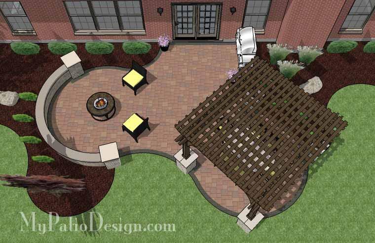 495 sq ft concrete paver patio design with pergola