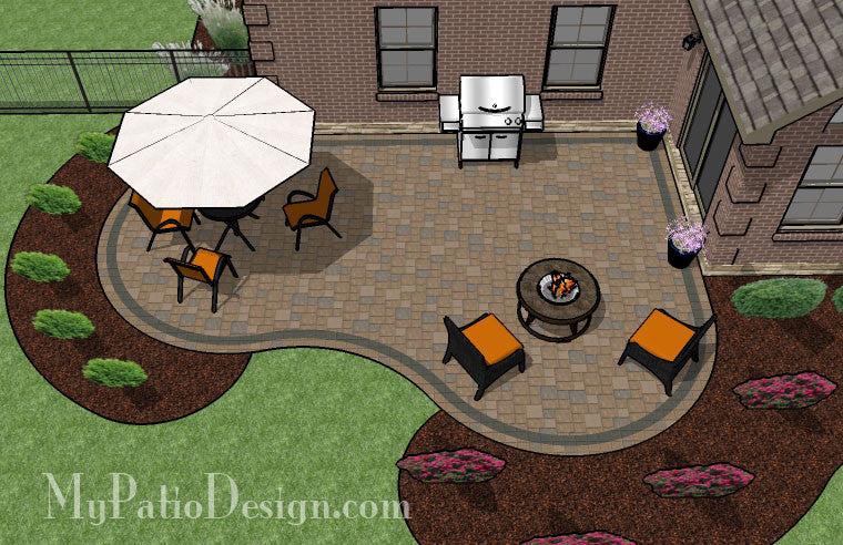425 sq ft cozy curvy paver patio design