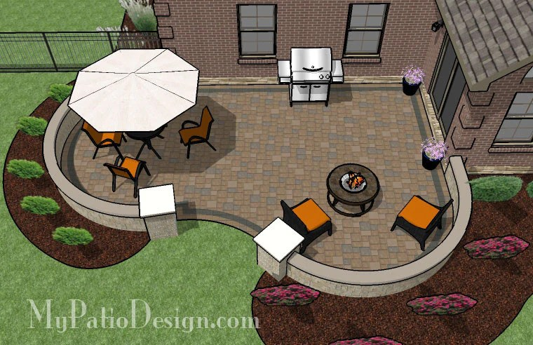 430 sq ft cozy curvy paver patio design with seat wall