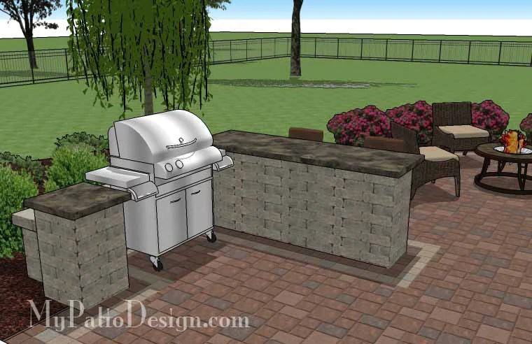 530 sq ft creative backyard patio design with grill station bar