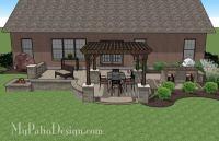 Creative Brick Patio Design with Pergola, Fire Pit & Bar ...
