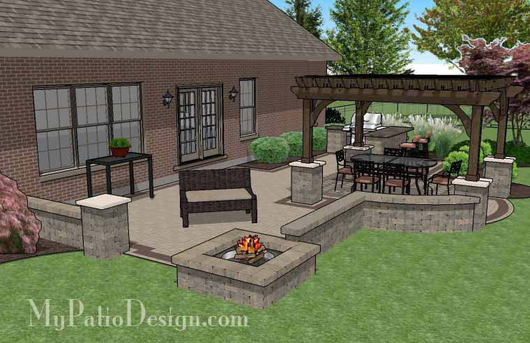 700 sq ft creative brick patio design with pergola fire pit and bar