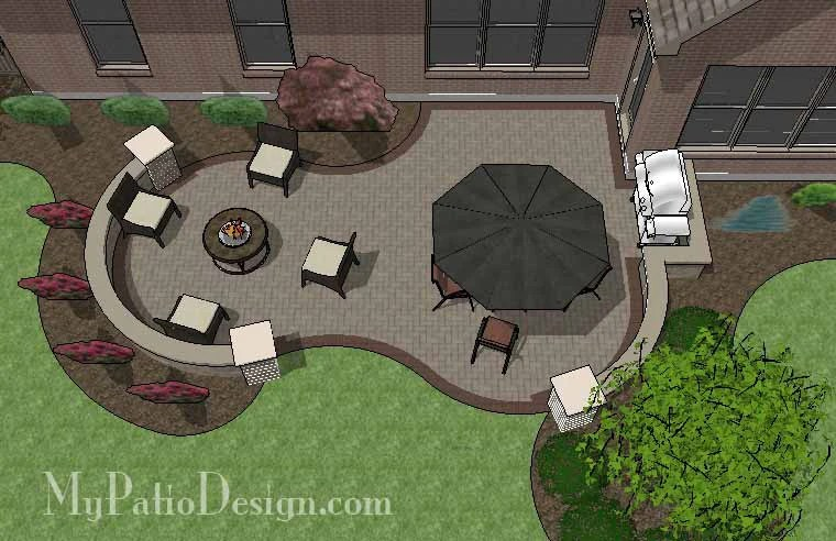 455 sq ft curvy brick patio design with seat wall