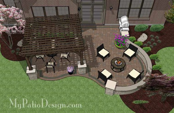 Curvy Patio Design With Seat Wall And Pergola