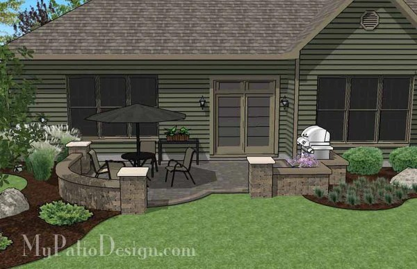 Diy Simple Patio Design With Seat Wall Downloadable Plan