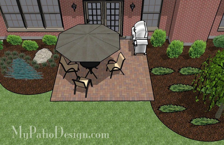 395 sq ft rectangle patio design with circle fire pit area