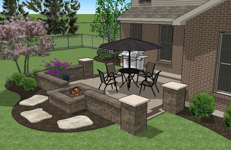 320 sq ft diy square brick patio design with seat walls and fire pit