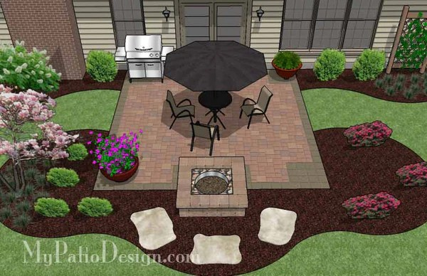 DIY Square Patio Design with Fire Pit  Download Plan