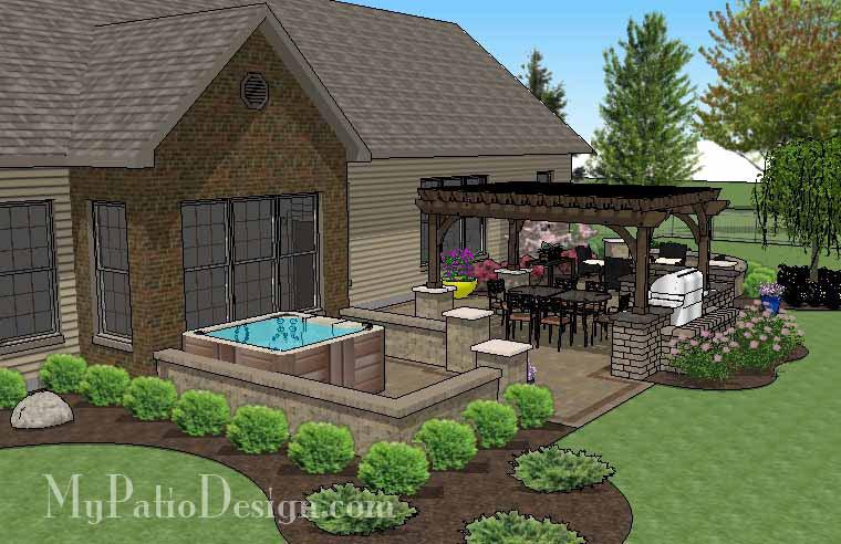 895 sq ft dreamy backyard patio design with hot tub