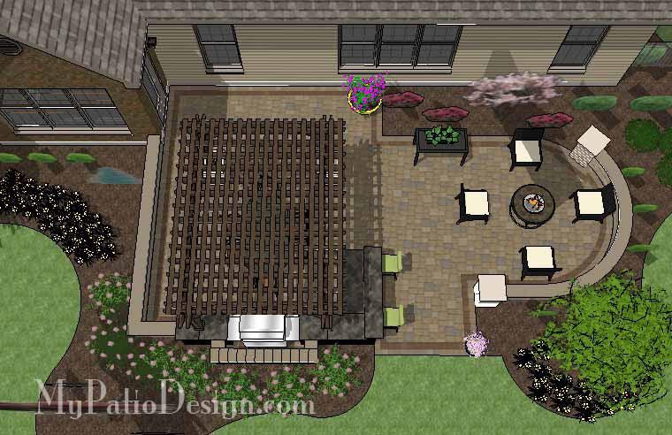 690 sq ft dreamy backyard patio design with pergola