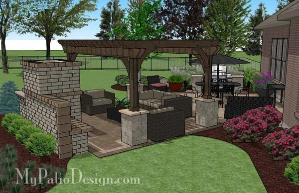 635 sq ft  Dreamy Fireplace Patio Design with Pergola  MyPatioDesigncom