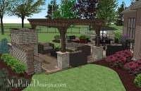 635 sq. ft. - Dreamy Fireplace Patio Design with Pergola ...