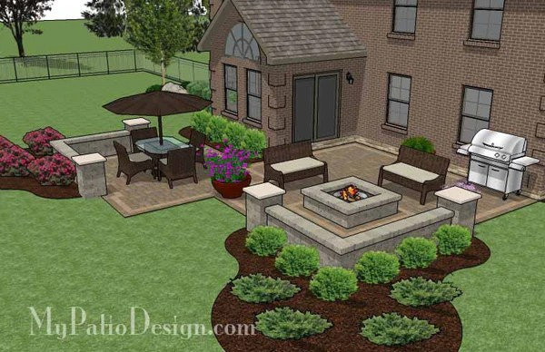 Fun Family Patio Design with Seat Walls  Download Plan  MyPatioDesigncom