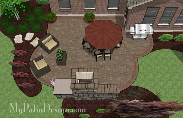 Large Cozy Patio Design With Fireplace Downloadable Plan