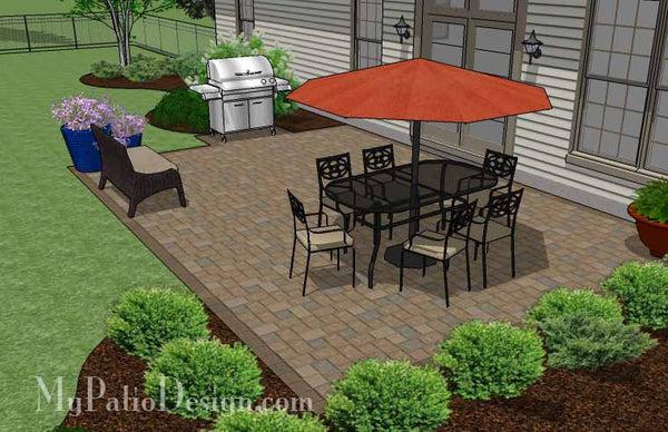 large rectangular paver patio design