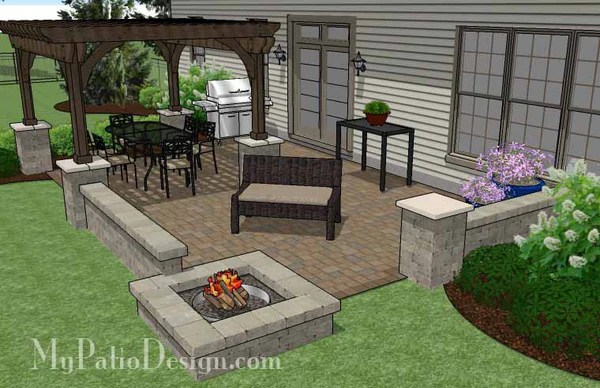 440 sq ft large rectangular paver patio design with fire pit and pergola