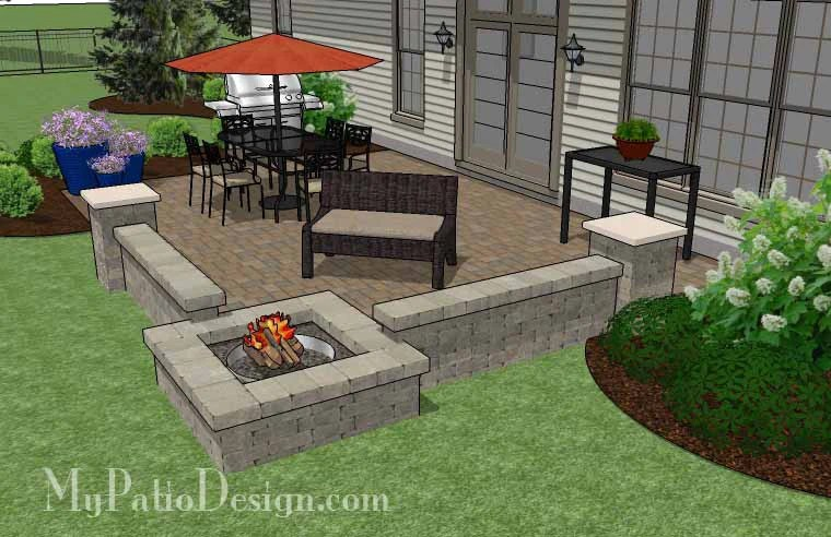 440 sq ft large rectangular paver patio design with seating wall and fire pit