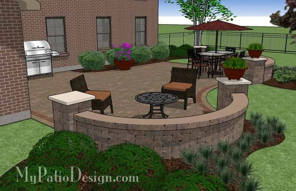 Outdoor Living Design with Seating Wall  Download Plan  MyPatioDesigncom