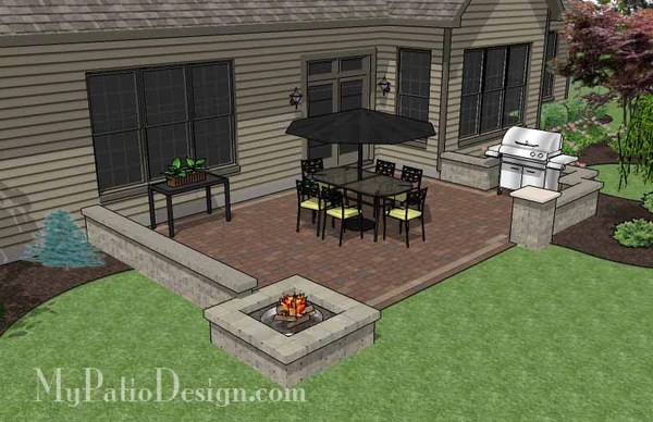 small rectangular kitchen table damascus steel knife patio design with seat walls and fire pit ...