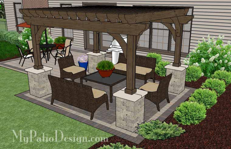s products simple and affordable brick patio design with pergola