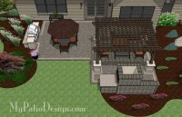 Simple Patio Design with Pergola, Fireplace and Grill ...