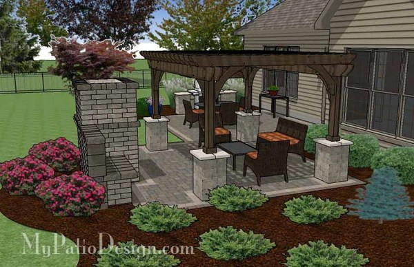 Simple Patio Design with Pergola Fireplace and Grill Station  MyPatioDesigncom