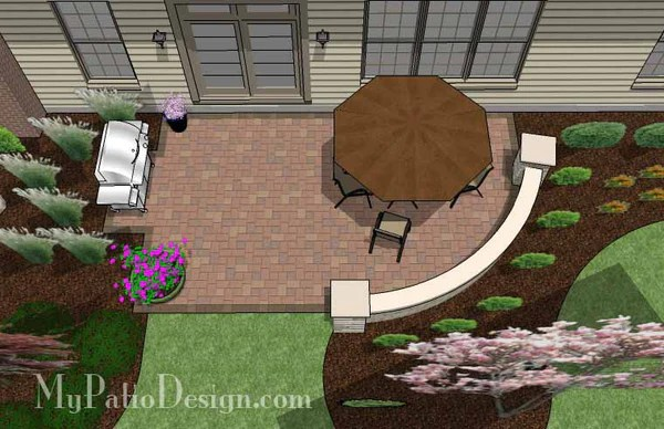 315 sq ft  Small Concrete Paver Patio Design with Seat Wall  MyPatioDesigncom