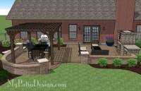 Traditional Patio Design with Pergola and Fireplace ...