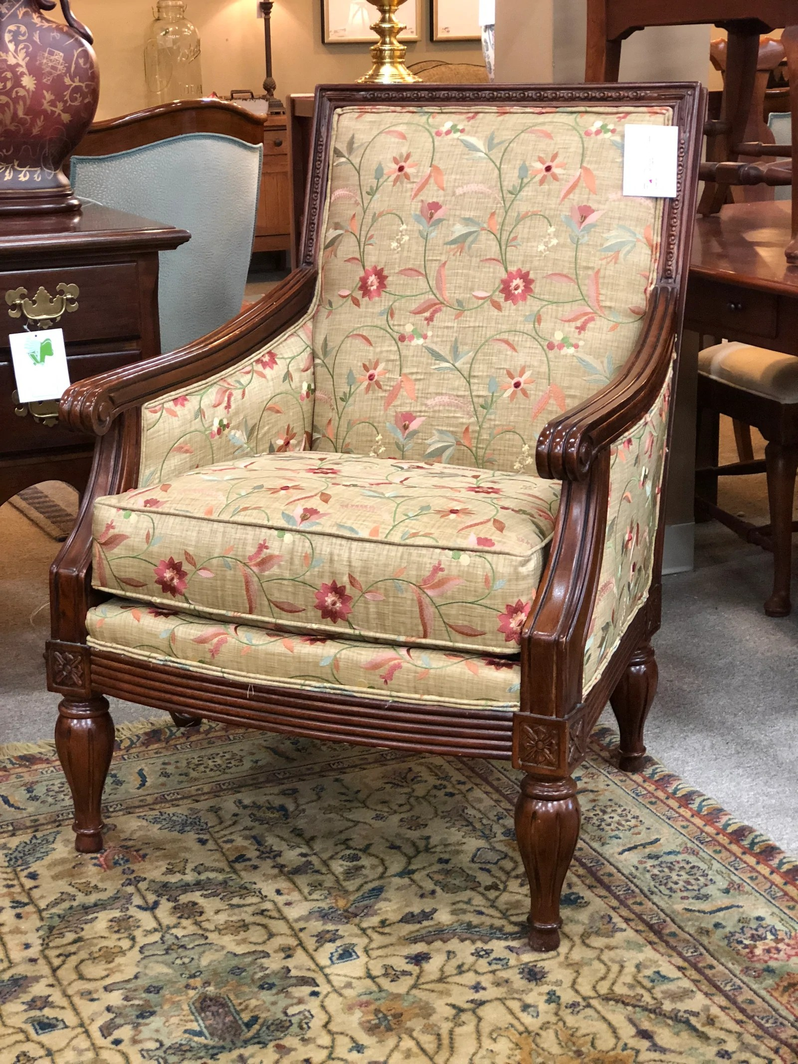 floral upholstered chair ikea white rocking petersons consigning design
